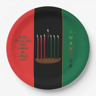 Sieben Kerzen Kwanzaa-Party-Papier-Teller- Pappteller