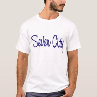 Sieben Stadt-Unterzeichnung - Blau T-Shirt
