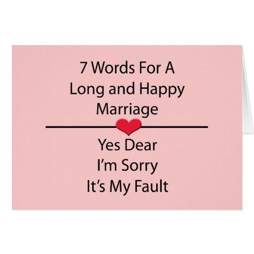 Sieben Wörter für eine lange und glückliche Heirat Grußkarte