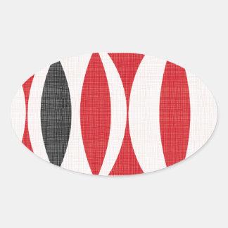 Siebziger rot und schwarz ovaler aufkleber