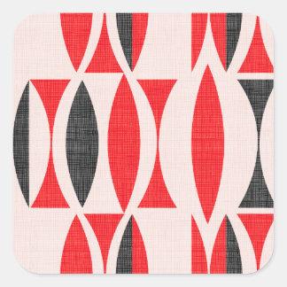 Siebziger rot und schwarz quadratischer aufkleber
