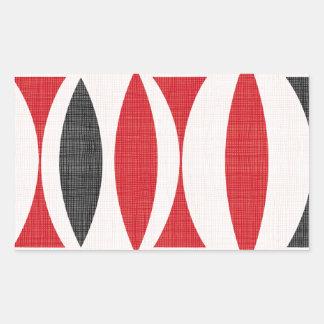 Siebziger rot und schwarz rechteckiger aufkleber