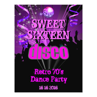 Siebzigerjahre 16. Geburtstag 16 Retro Disco-Tanz- 21,6 X 27,9 Cm Flyer