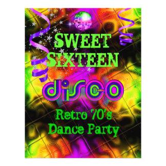 Siebzigerjahre 16. Geburtstag 16 Retro Disco-Tanz- Flyerdruck