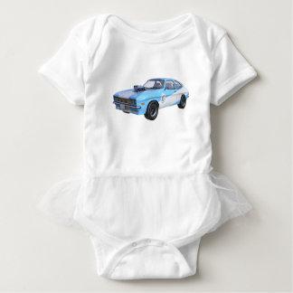 Siebzigerjahre blau und weißes Muskel-Auto Baby Strampler