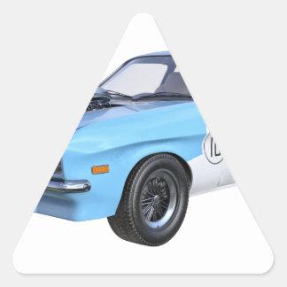 Siebzigerjahre blau und weißes Muskel-Auto Dreieckiger Aufkleber