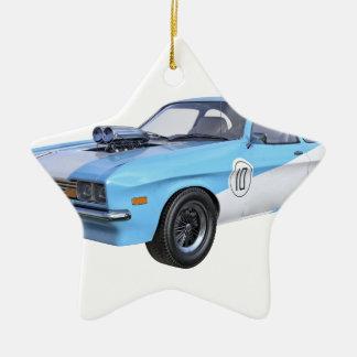 Siebzigerjahre blau und weißes Muskel-Auto Keramik Ornament