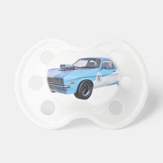 Siebzigerjahre blau und weißes Muskel-Auto Schnuller