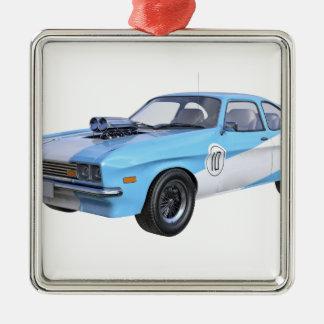Siebzigerjahre blau und weißes Muskel-Auto Silbernes Ornament