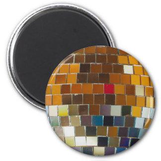 Siebzigerjahre Disco-Ball-Magnet! Runder Magnet 5,1 Cm