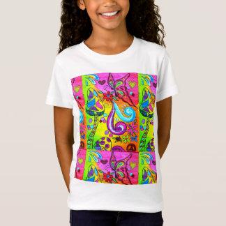 Siebzigerjahre hippie-ähnlicher Blumen-Power-T - T-Shirt
