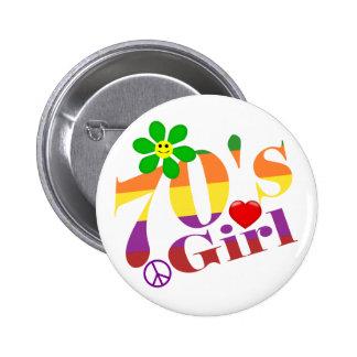 Siebzigerjahre Mädchen-Retro Knopf Runder Button 5,1 Cm