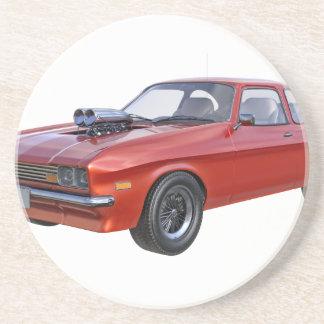 Siebzigerjahre Muskel-Auto im Rot Getränkeuntersetzer