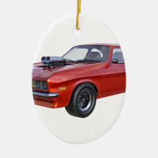 Siebzigerjahre Muskel-Auto im Rot Keramik Ornament