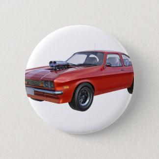 Siebzigerjahre Muskel-Auto im Rot Runder Button 5,7 Cm