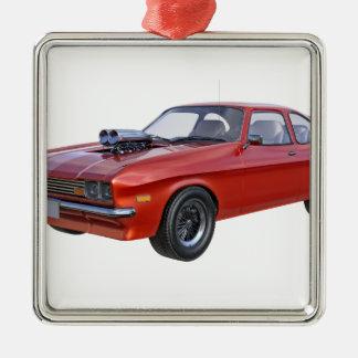 Siebzigerjahre Muskel-Auto im Rot Silbernes Ornament