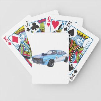Siebzigerjahre Muskel-Auto in Blauem und in weißem Bicycle Spielkarten
