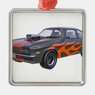 Siebzigerjahre Muskel-Auto mit orange Flamme und Silbernes Ornament