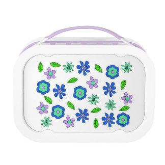 Siebzigerjahre retro Blumen-Blau Lunchbox