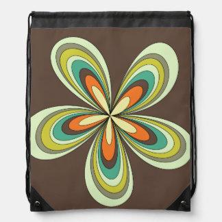 Siebzigerjahre retro Frühling Hippie-Blumen-Power Turnbeutel
