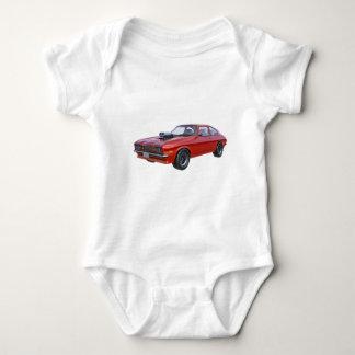 Siebzigerjahre rotes Muskel-Auto Baby Strampler