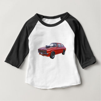Siebzigerjahre rotes Muskel-Auto Baby T-shirt