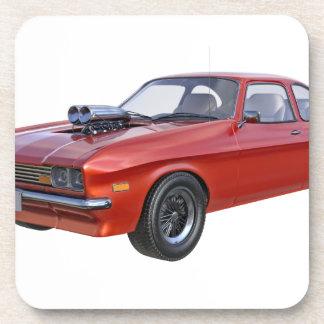 Siebzigerjahre rotes Muskel-Auto Getränkeuntersetzer