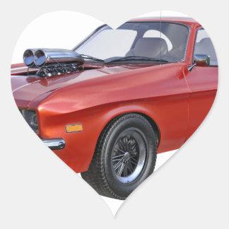 Siebzigerjahre rotes Muskel-Auto Herz-Aufkleber