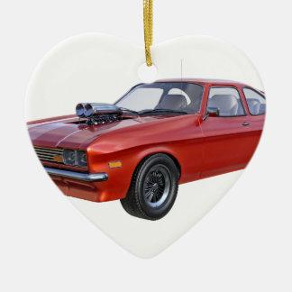 Siebzigerjahre rotes Muskel-Auto Keramik Ornament