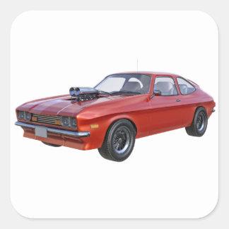 Siebzigerjahre rotes Muskel-Auto Quadratischer Aufkleber