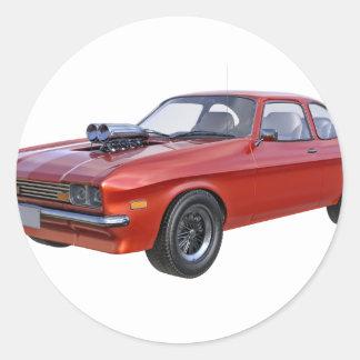 Siebzigerjahre rotes Muskel-Auto Runder Aufkleber