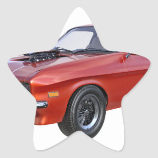 Siebzigerjahre rotes Muskel-Auto Stern-Aufkleber