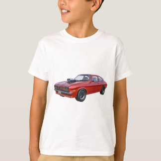 Siebzigerjahre rotes Muskel-Auto T-Shirt