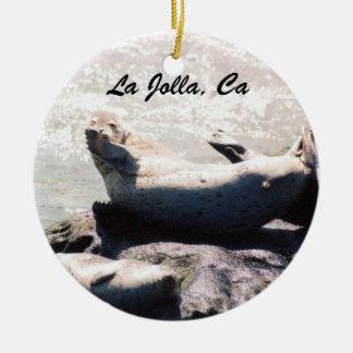 Siegel-Weihnachtsverzierung Las Jolla Kalifornien Keramik Ornament