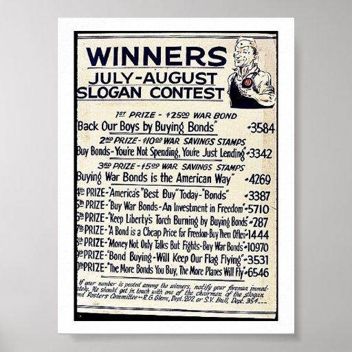 Sieger-Juli/August Slogan-Wettbewerb Plakate
