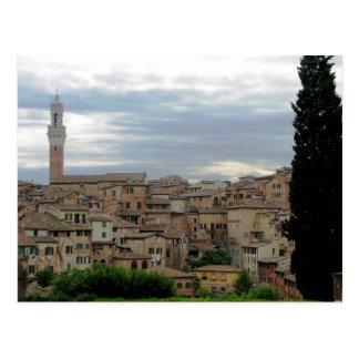 Siena, Italien, Turm von Rathaus an links Postkarte