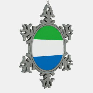 Sierra Leone-Flagge Schneeflocken Zinn-Ornament