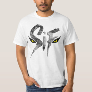 Sif, die große grauer Wolf-Typografie T-Shirt