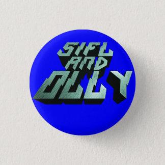Sifl und Olly Metalllogo-Knopf (blau) Runder Button 3,2 Cm