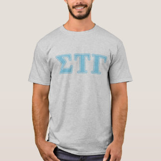 Sigmatau-Gamma-Blau-Buchstaben T-Shirt