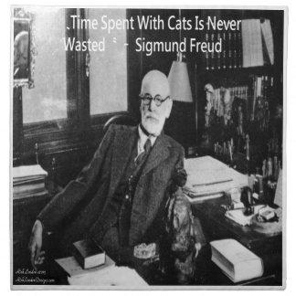 Sigmund Freud in seinem Büro u. lustigen in Stoffserviette