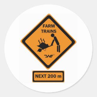 Sign Farm Trains Runder Aufkleber