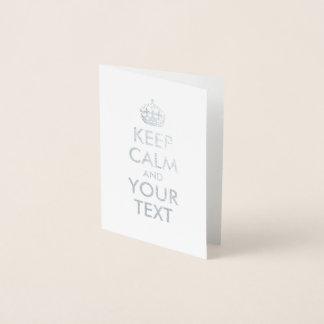 Silber behalten Ruhe und Ihren Text Folienkarte