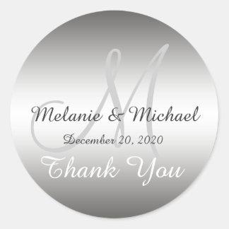 Silber danken Ihnen Hochzeits-Monogramm-Aufkleber