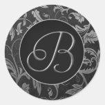 Silber des Monogramm-B und schwarzes Damast-Hochze Sticker