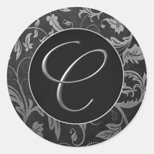 Silber des Monogramm-C und schwarzes Damast-Hochze Runder Sticker
