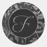Silber des Monogramm-F und schwarzes Runde Aufkleber