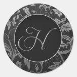 Silber des Monogramm-H und schwarzes Damast-Hochze Sticker