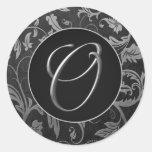 Silber des Monogramm-O und schwarzes Damast-Hochze Stickers