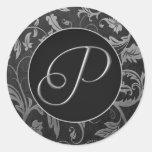 Silber des Monogramm-P und schwarzes Damast-Hochze Aufkleber